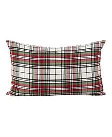 "Classic Tartan Plaid Pattern Cotton Throw Pillow, 12"" x 20"""