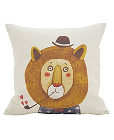 """Lion Pipe Cotton Polyester Filled Throw Pillow, 16"""" x 16"""""""
