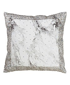 """Beaded Decorative Throw Pillow with Marble Print, 18"""" x 18"""""""