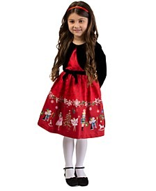 Little Girls 2-Pc. Velvet Shrug & Shantung Nutcracker Dress Set