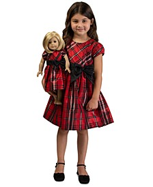 Little Girls 2-Pc. Plaid Bow Dress & Doll Dress Set