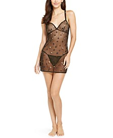 I.N.C. Glitter Star-Print Mesh Chemise Nightgown & Thong, Created for Macy's