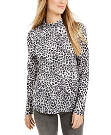 Printed Cotton Turtleneck Top, Created For Macy's