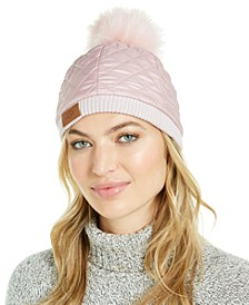Quilted All Weather Hat with Shearling Pom
