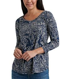 Scoop-Neck 3/4 Sleeve T-Shirt