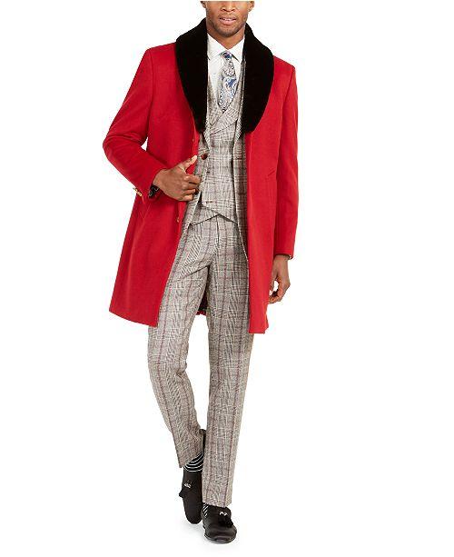 Tallia Men's Faux-Fur Trim Overcoat