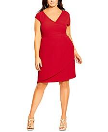 Trendy Plus Size Faux-Wrap Dress
