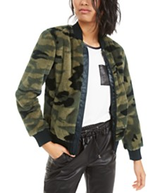 Bar III Printed Faux-Fur Bomber Jacket, Created for Macy's