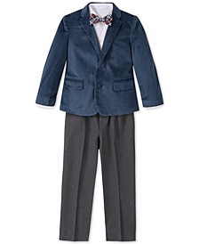 Toddler Boys Regular-Fit 4-Pc. Polka Dot Velvet Suit Set
