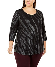 Plus Size Scoop-Neck Printed Top, Created For Macy's