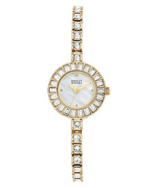 Badgley Mischka Ladies Gold-Tone Bangle Encrusted with Swarovski Crystals Watch 33mm