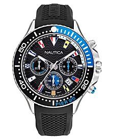 Nautica Men's Pier 25 Chrono Black, Blue Silicone Strap Watch 48mm