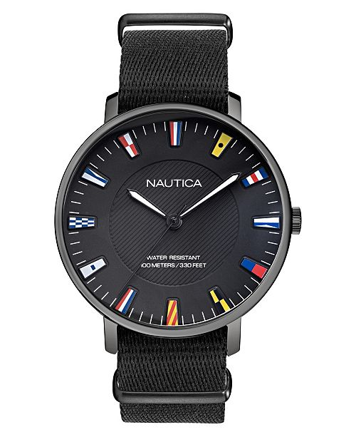Nautica Men's Caprera Black Fabric Slip-Thru Strap Watch 43mm