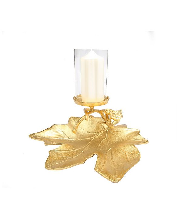 Classic Touch Gold Embossed Leaf Dish with Branched Candle Holder