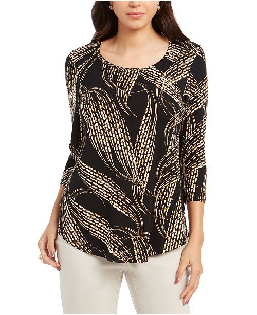 JM Collection Petite 3/4-Sleeve Printed Top, Created For Macy's