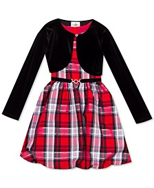 Toddler Girls 2-Pc. Velvet Bolero & Plaid Bubble Dress Set