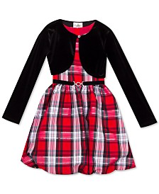 Rare Editions Little Girls 2-Pc. Velvet Bolero & Plaid Bubble Dress Set