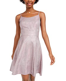 Juniors' Sparkle Fit & Flare Dress