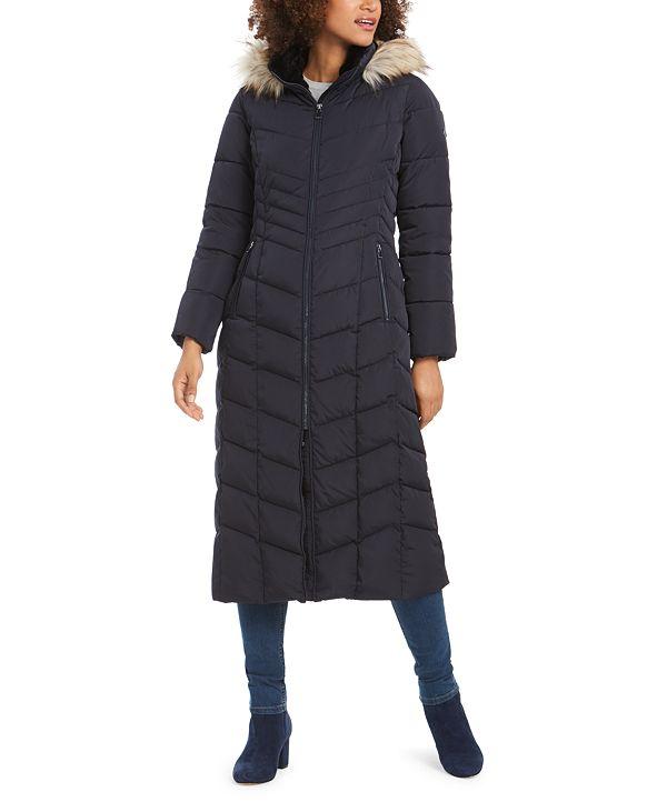Calvin Klein Hooded Faux-Fur-Trim Maxi Puffer Coat