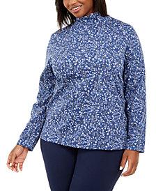 Karen Scott Plus Size Floral-Print Mock-Neck Top, Created For Macy's
