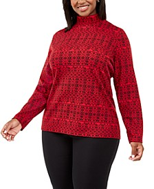 Plus Size Fair Isle Printed Mock-Neck Top, Created For Macy's