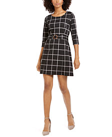 NY Collection Petite Plaid Belted Shift Dress