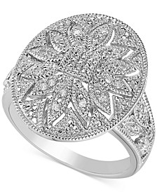 Diamond Filigree Floral Statement Ring (1/10 ct. t.w.) in Sterling Silver