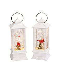 Elegant, Lighted, White Snow Globe Lanterns with Winter Scenes -Set of 2