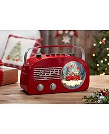 6.5-Inch High Battery-Operated Illuminated Vintage Radio Musical Water Globe