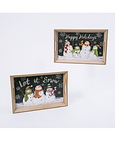 Assorted Wood Nesting Snowman Trays - Set of 2