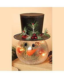 12-Inch High Electric Crackle Glass Snowman Head Lamp