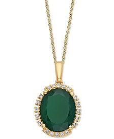 "EFFY® Green Onyx (11 x 9mm) & Diamond (1/10 ct. t.w.) 18"" Pendant Necklace"
