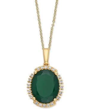 "Effy Green Onyx (11 x 9mm) & Diamond (1/10 ct. t.w.) 18"" Pendant Necklace"