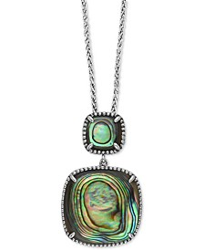 "EFFY® Abalone Double Drop 18"" Pendant Necklace in Sterling Silver"