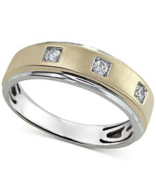 Men's Diamond Two-Tone Band (1/5 ct.  t.w.) in 10k Gold & White Gold