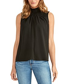 Mindi Smocked Mock-Neck Top
