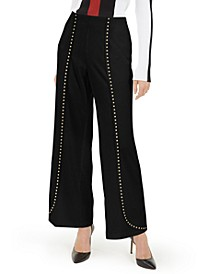 INC Petite Studded Crepe Wide-Leg Pants, Created For Macy's