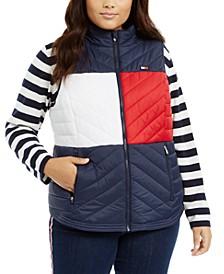 Plus Size Colorblock Zip-Front Vest