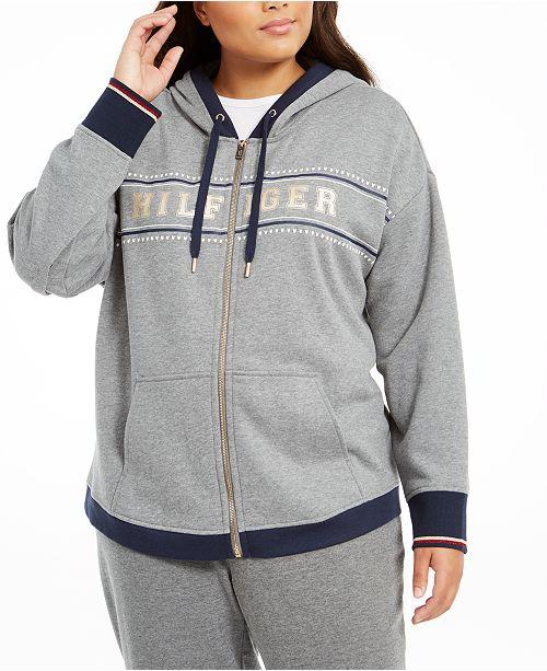 Tommy Hilfiger Plus Size Logo-Print Zip-Front Hoodie