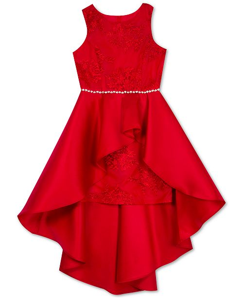 Rare Editions Big Girls Lace High-Low Overlay Dress