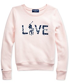 Big Girls Pink Pony Fleece Logo Sweatshirt