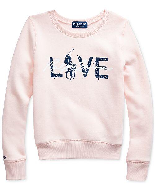 Polo Ralph Lauren Big Girls Pink Pony Fleece Logo Sweatshirt