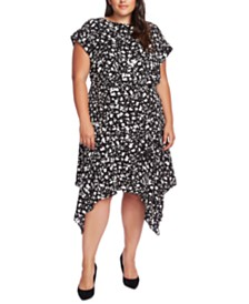 Vince Camuto Plus Size Printed Handkerchief-Hem Dress
