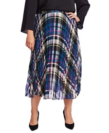 Vince Camuto Plus Size Plaid Pleated Midi Skirt