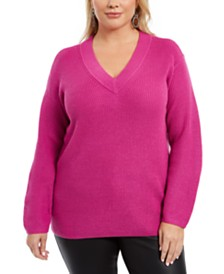 Vince Camuto Plus Size V-Neck Sweater