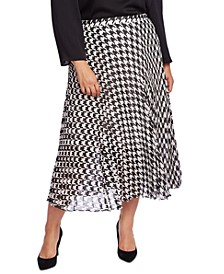 Plus Size Houndstooth Chiffon Midi Skirt
