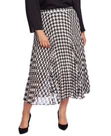 Vince Camuto Plus Size Houndstooth Chiffon Midi Skirt