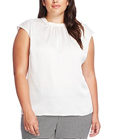 Plus Size Pleated Cap-Sleeve Blouse
