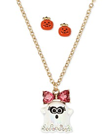 "Gold-Tone Crystal Ghost Pendant Necklace & Jack-o-Lantern Stud Earrings Set, 16"" + 3"" extender"