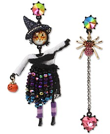 Two-Tone Crystal & Bead Witch-Cat Mismatch Drop Earrings